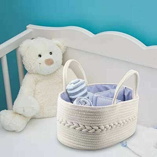 Baby Nursery Storage Bin Portable Rope Diaper Caddy with Removable Divider