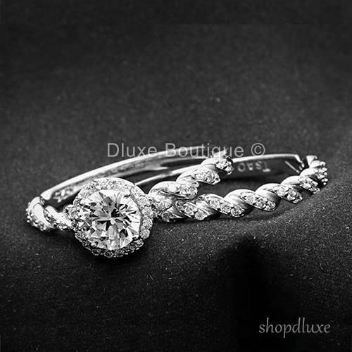 2.05 CT HALO ROUND CUT CZ 925 STERLING SILVER WOMEN'S WEDDING RING SET SIZE 5-10