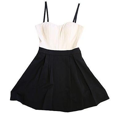 NEW DVF DIANE VON FURSTENBERG AVEDON CREAM BLACK STRAPLESS FLARE DRESS SIZE 4 (Diane Von Furstenberg Strapless Dress)