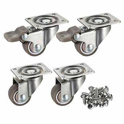 Small Caster Wheels For Furniture Table Cabinet Locking Bed Castors Rubber Tires