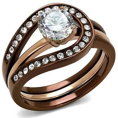 Chocolate Wedding Ring (2.2 ct  Round CZ Chocolate Brown Stainless Steel Wedding Engagement Ring Set)
