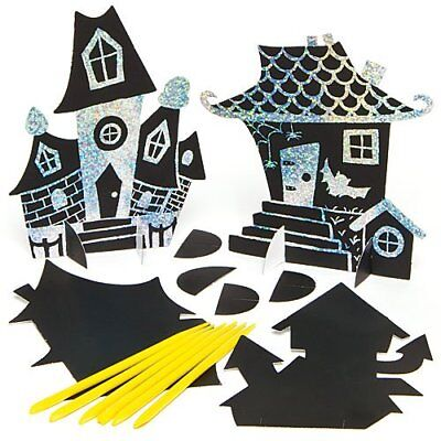8 HALLOWEEN HAUNTED HOUSE Scratch Art Shapes for Kids to Design Craft Gift