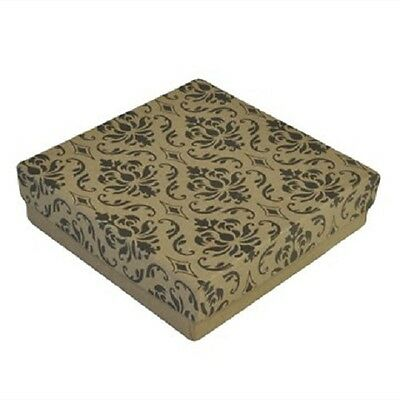 100 Damask Kraft Cotton Filled Jewelry Bracelet Earring Chain Gift Boxes 3 12