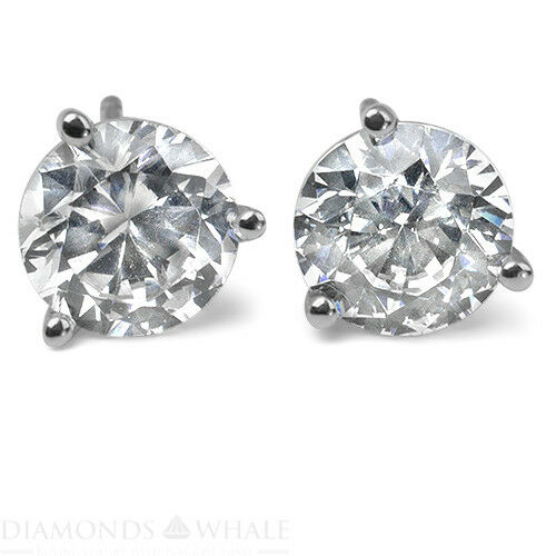 Stud Enhanced Round Diamond Earrings 0.9 Ct Vs2/d 14k White Gold Engagement