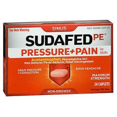 SUDAFED PE Sinus Pressure Plus Pain Caplets 24 Caps