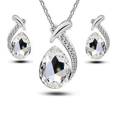 Schmuckset Kette Anhänger Ohrringe Tropfen Swarovski® Kristall Diamant Weiss