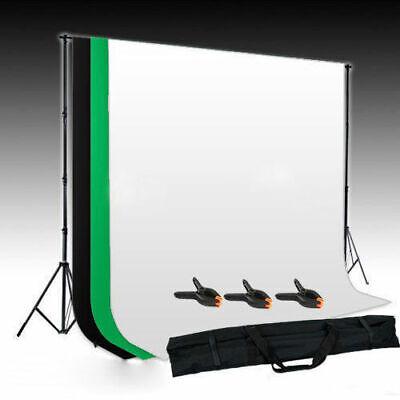 Fotostudio 3x Hintergrund schwarz weiβ grün Hintergrundstoff Hintergrundsystem Hintergrund System
