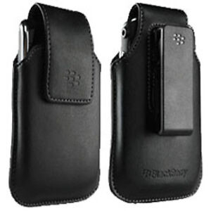 NEW OEM BLACKBERRY BLACK LEATHER CASE PHONE POUCH SWIVEL HOLSTER for TORCH 9810