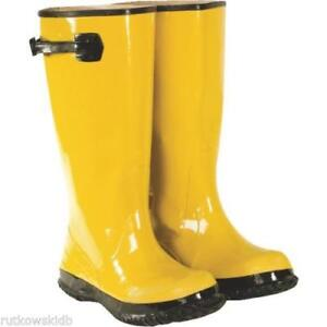 a brand new never worn pair of yellow overshoe boots size 12