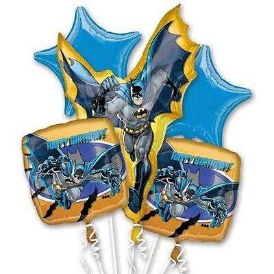 Batman Happy Birthday Party Decoration 5 Counts Foil Balloon Bouquet - Batman Party Decor