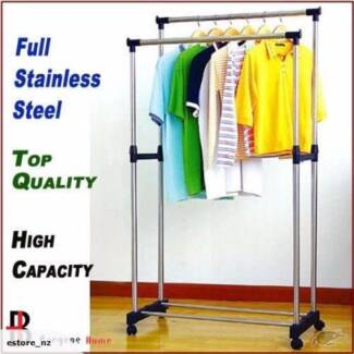 Portable Clothes Hanger Rolling Garment Rack With Double Rails Heidelberg West Banyule Area Preview