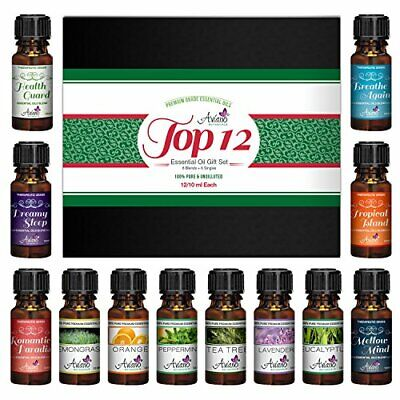 Scented Therapeutic Grade Top 12 Aromatherapy Essential Oils Gift Set