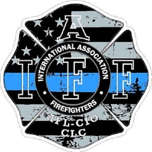 4 Inch Reflective IAFF Thin Blue Line Maltese Distressed Flag Sticker Decal 6529