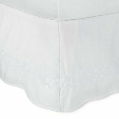 Simply Shabby Chic White Linen Blend Embroidered Bed Skirt TWIN
