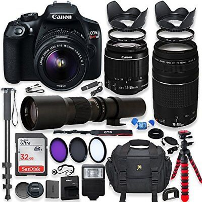 Canon EOS Rebel T6 DSLR Camera with 18-55mm IS II Lens + Professional Bundle