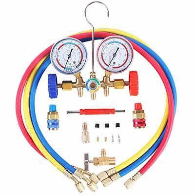 Jifetor 3 Way Ac Manifold Gauge Set Hvac Diagnostic Freon Charging Tool For Aut