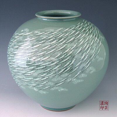 Celadon Fish Design Green Decorative Oriental Art Porcelain Ceramic Pottery Jar
