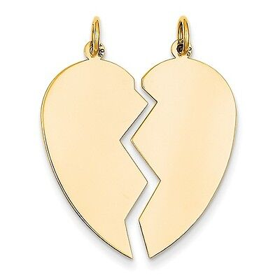 14K YELLOW GOLD SOLID POLISHED 2-PIECE BREAK APART HEART CHARM PENDANT 1.3 INCH 2 Polished Gold Charm