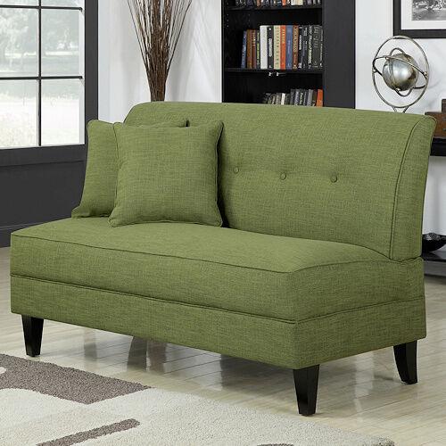 Armless Loveseat Apple Green Settee Living Room Wood Sofa Be