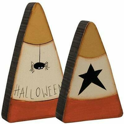 Set of 2 Candy Corn Wood Distressed Halloween Spider Star Fall Decor - Starfall Halloween