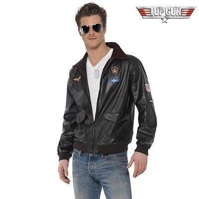 Herren 80s Jahre lizensiert Top Gun Piloten Kostüm Jacke Kunstleder NEU von
