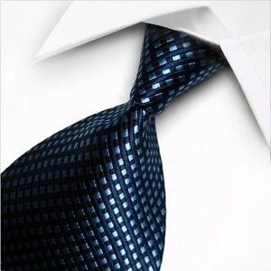 Mens Business New Silk Classic jacquard Woven Blue Striped Wedding Tie  Necktie