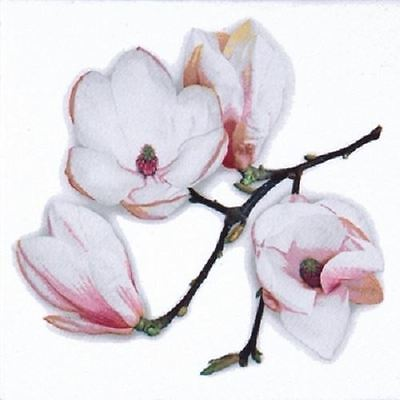 4 x Paper Napkins - White Magnolia - Ideal for Decoupage / Napkin Art