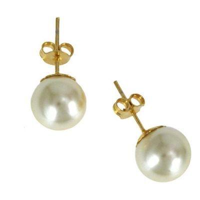 Pretty New Classic White 10mm Pearl Stud Earrings w/ 9K Yellow Gold Filled Posts 10mm Pearl Stud Earrings