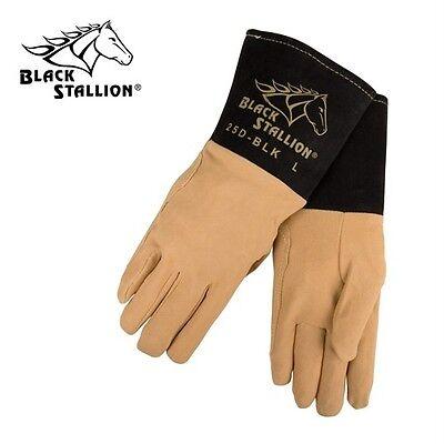 Black Stallion 25d-blk Deerskin Tig Welding Glove Sz Lg
