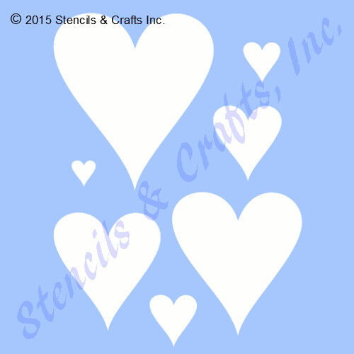 HEART STENCIL HEARTS MANY SHAPES TEMPLATE VALENTINES CRAFT PAINT PATTERN ART NEW