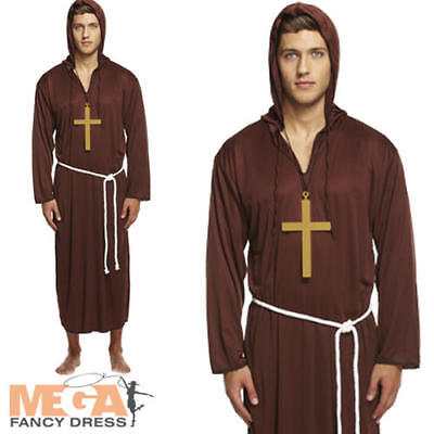 Monk Robe Mens Fancy Dress Medieval Priest Friar Tuck Adults Halloween Costume