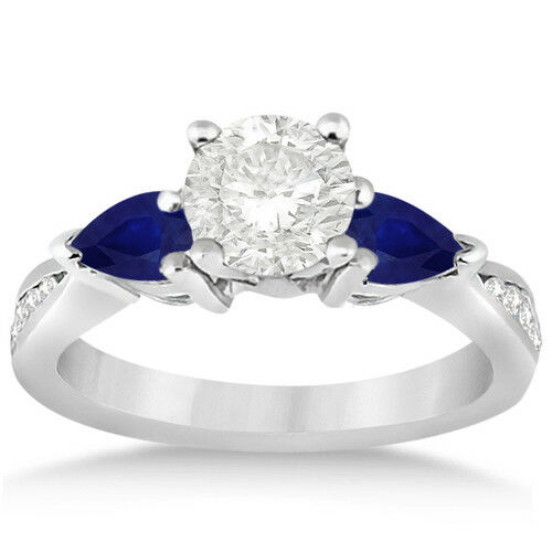 1 7/8 ct Created Sapphire & Natural White Topaz Ring in Sterling Silver Plating Fine Jewelry