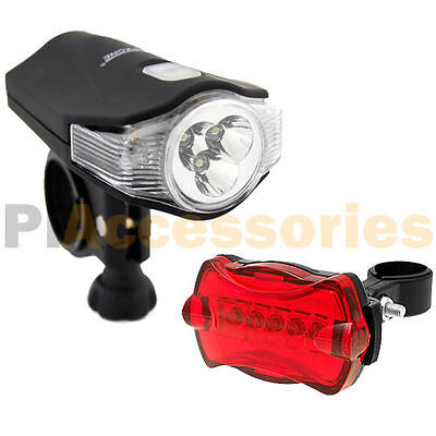 Waterproof 3 White + 2 Red LED Front Head Lamp & 5 LED Rear Bike Light Set