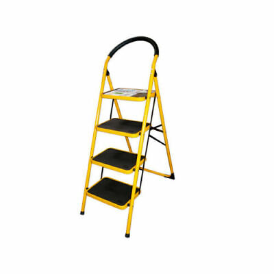 4 Step Ladder With Oversize Wide Foot Steps Collapsible Folding Safe Comfy Grip -