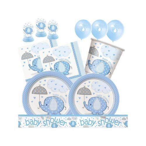 Babyparty Elefant Partydeko Geburt Junge Boy Baby Blau Babyshower