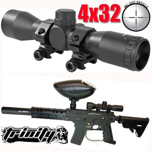 Trinity scope for tippmann tmc marker tactical woodsball paintballer optics blk