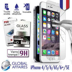 Vitre-protection-VERRE-trempe-Film-protecteur-d-039-ecran-iPhone-7-6-6S-Plus-4-5-SE