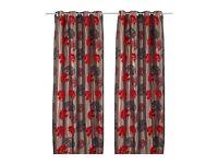 Ikea gulkronill red curtains 145cm x 250cm bnip