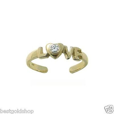 Adjustable Diamonique CZ LOVE Toe Ring Solid 14K Yellow Gold 100% Guaranteed! 14k Love Toe Ring