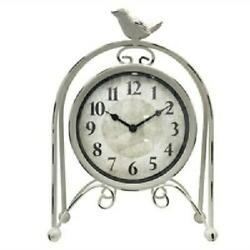 Westclox Charming White Distressed Metal Bird Table Clock Battery Op USA Seller
