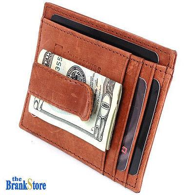Credit Card Holder Mens Leather Money Clip Wallet Slim Front Pocket Id Brown