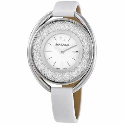 Swarovski (5206145) Crystalline Oval White Leather Silver Tone Glitz Watch