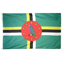 New DOMINICA Flag 2' x 3' Nyl-Glo Nylon Colorfast Brass Grommets