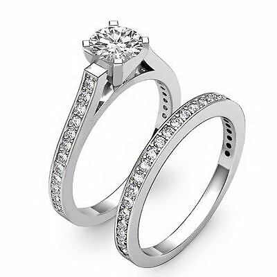 4 Prong Bridal Set Round Diamond Engagement Ring GIA F Color VS2 Clarity 1.57Ct 1