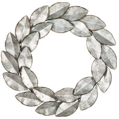 Leaves Wall Sculpture (Rustic Metal Leaves Wreath Unique Wall Sculpture Shabby Chic Farm Home)