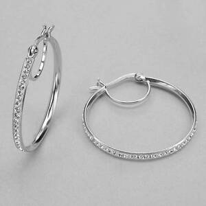 STYLISH BRAND NEW HOOP EARRINGS WITH GENUINE CRYSTALS  *ORILLIA*