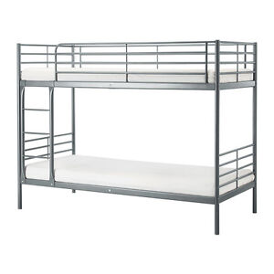 Silver Bunk bed with 2 single mattress