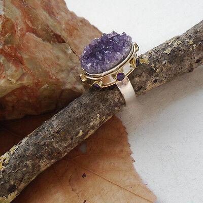 Amethyst Druse & Amethyst, teilvergoldet, Ring, Ø 18,25 mm, 925 Sterling Silber