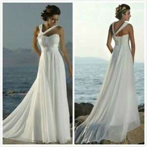 In-Stock-White-Chiffon-Beach-Bridal-Gown-Prom-Deb-Evening-Wedding-Dress-Size6-16