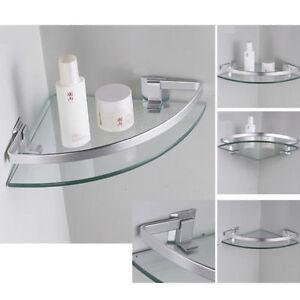 Aluminum Corner Shelves Wall Mounted Triangle Single Bathroom Glass Shelf 254